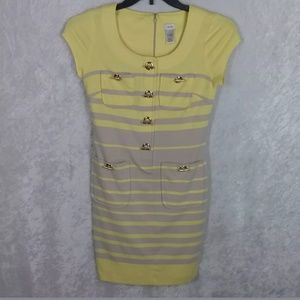 Caché Yellow & Gray Striped Toggle Short-Sleeve Sc